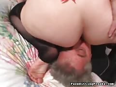 Sweet brunette sitting on his face in Face Sitting Freaks video