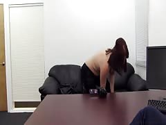 Chubby Mommy is spreading her long legs in Backroom Casting Couch video
