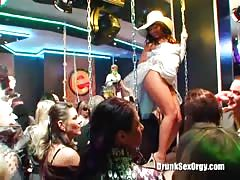 Black-haired drunk hooker gives a head at a party