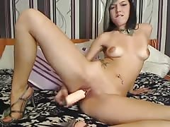 Czech girl using a huge dildo