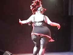 Perfect Nordic-Western Blonde BBW in Masked Burlesque Dance