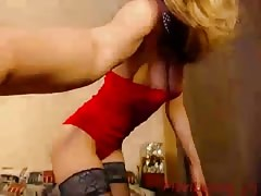 Addictive young blonde is posing fully naked in the bedroom