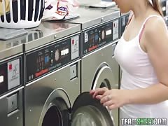 Sweet Exxxtra Small babe Cali Hayes is getting seduced in the laundry