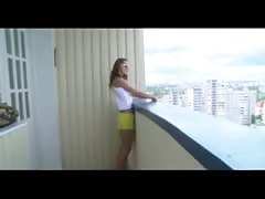 Teen coupele fuck on the balcony
