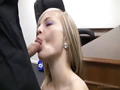 Young casting girl is sucking interviewer's dick on camera