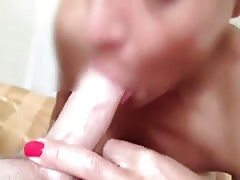 Hot blowjob in the close-up amateur video with a sweet wife
