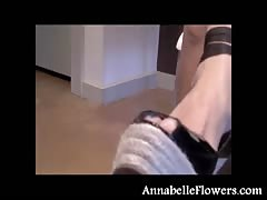 Stylish milf Annabelle Flowers looks hot in her new black shoes