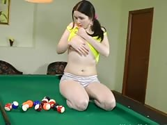 Teen Gets Bored Playing Pool