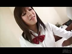 Slender Japanese cutie giving a head in the video by Jav HD