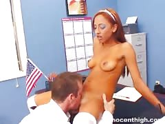 Redhead babe enjoys his massive boner in the video by the Innocent High
