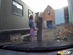 Cute chick is blowing outdoors in the video by Fake Cop