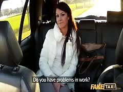 Glamour young slut fucks in her cunt in the Fake Taxi